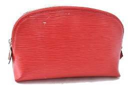 Authentic Louis Vuitton Epi Pochette Cosmetic Pouch Red