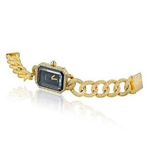 Authentic Chanel 18K Yellow Gold Premier Diamond Black