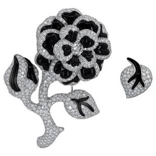 Authentic Chanel Set of Two Flower Diamond and Onyx 18