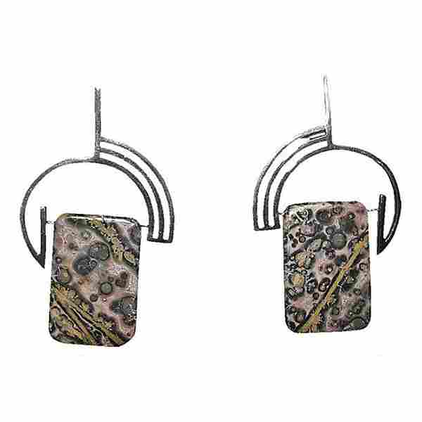 Modernist Leopardskin Jasper Earrings