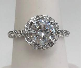 Diamond Round Engagement Ring Mounting With Twist