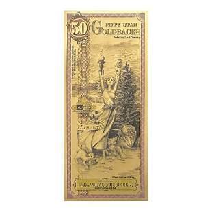 50 Utah Goldbacks 1/20 oz 24K Gold Foil Aurum Note