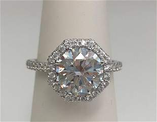 Diamond Round Engagement Ring Mounting With Octagon