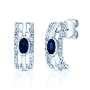 Sapphire And Diamond Open Work Earrings In 14k White