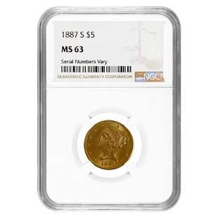 1887 S $5 Liberty Head Half Eagle Gold Coin NGC MS 63