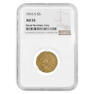 1916 S $5 Indian Head Half Eagle Gold Coin NGC AU 55