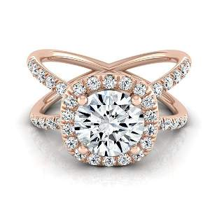 Diamond Round Engagement Ring Mounting With Pave