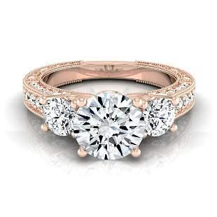 1 7/8ctw Round 3 Stone Engagement Ring With Diamond