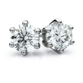14k White Gold 6-prong Round Diamond Stud Earrings 1ctw