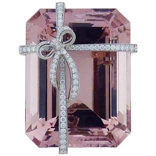 Authentic Tiffany & Co. Morganite Diamond Platinum