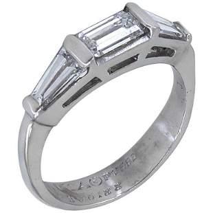 Authentic Van Cleef & Arpels 3-Stone Diamond Platinum