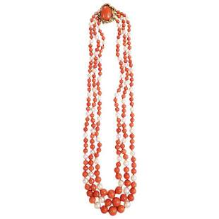 Authentic David Webb Coral Pearl Bead Necklace