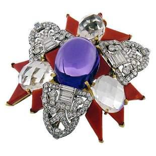 Authentic David Webb Diamond  Amethyst  Rock Crystal