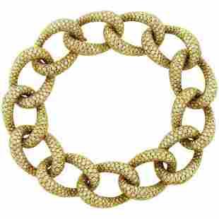 Authentic Diamond 18 Karat Yellow Gold Link Bracelet