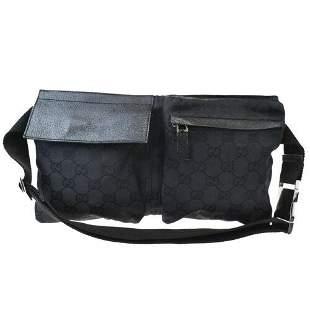 Authentic GUCCI GG Pattern Bum Bag Belt Canvas Leather