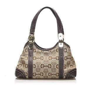Authentic Gucci Horsebit Canvas Tote Bag