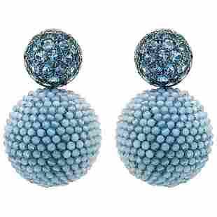 Authentic Aquamarine Agate Earrings by Hemmerle
