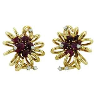 Authentic David Webb Cabochon Ruby Diamond Gold