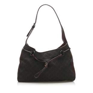 Authentic Gucci GG Canvas Horsebit Shoulder Bag