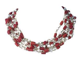 Artisan Hand Made Red Coral and Cultured Pearl Bead