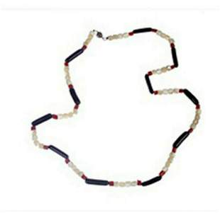 Black Coral Mother of Pearl Shell and Red Coral Beaded
