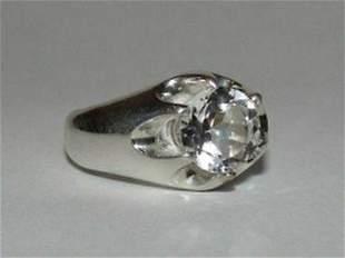Men's Sterling Silver Rock Crystal Pinky Ring Alberto