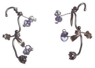 Handmade Sterling Silver Iolite Bead Cuff Earrings
