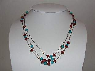 Sterling Silver & 14 kt Gold Turquoise and Red Coral