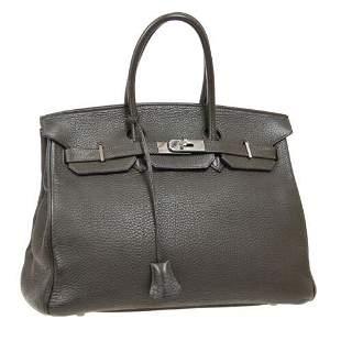 Authentic HERMES BIRKIN 35 Hand Bag #H Purse Vert
