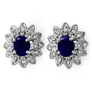 3.0 ctw Blue Sapphire & Diamond Earrings 14k White Gold