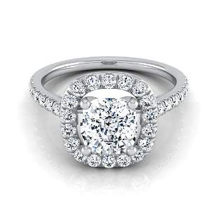 Diamond Cushion Engagement Ring Mounting With Pave