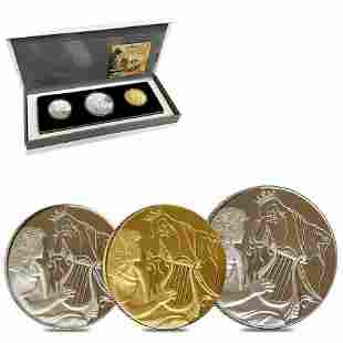2013 Israel Gold/Silver David Playing for Saul 3-Coin
