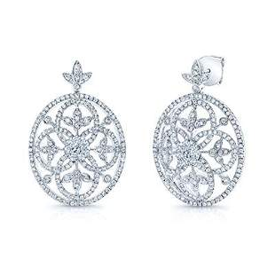 Diamond Edwardian Earrings In 14k White Gold