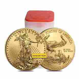 Roll of 20 - 1 oz Gold American Eagle $50 Coin BU