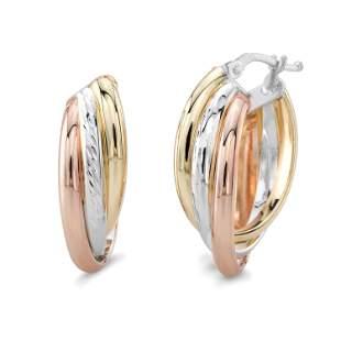 14k Gold Tri-tone Twisted Oval Hoop Earrings, 25mm