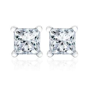 Diamond 4-prong Princess Studs 14k White Gold