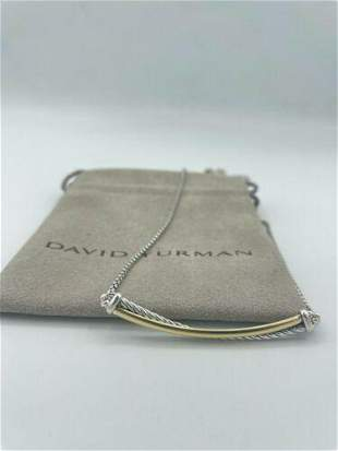 David Yurman Crossover Bar Cable Necklace With 18K Gold