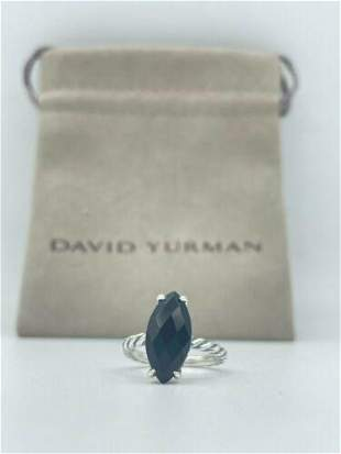 David Yurman Sterling Silver Cable Ring With Marquise