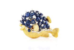 Authentic Blowfish Sapphire And Diamond Brooch