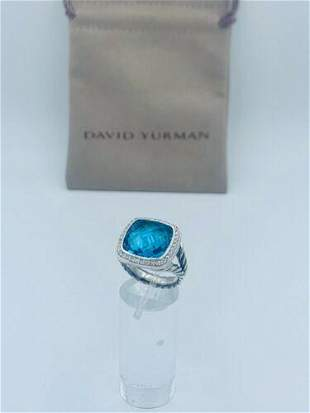 David Yurman Sterling Silver 14mm Albion Ring with Blue