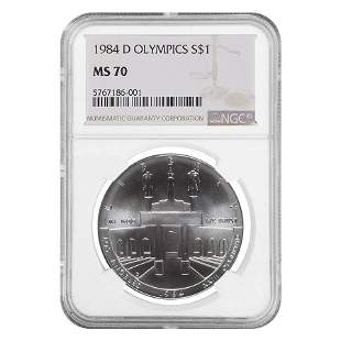 1984 D Olympics $1 Silver Dollar Commemorative NGC MS