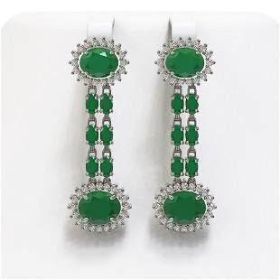 10.23 ctw Emerald & Diamond Earrings 14K White Gold