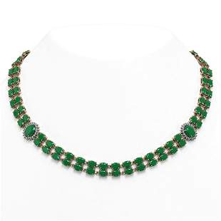 43.13 ctw Emerald & Diamond Necklace 14K Rose Gold