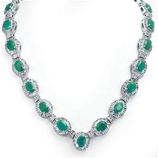 37.70 ctw Emerald & Diamond Necklace 14k White Gold