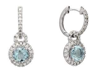 Aquamarine And Diamond Round Halo Dangle Earrings In