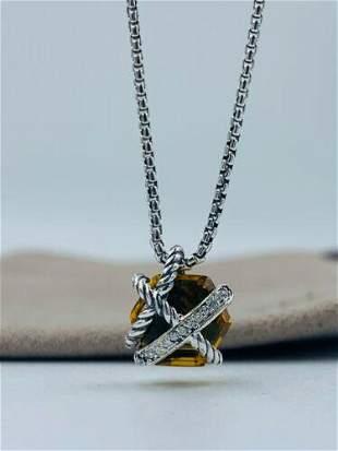 David Yurman Cable Wrap Citrine & Diamonds Necklace