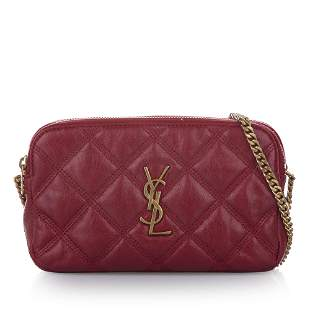 Authentic YSL Monogram Quilted Leather Crossbody Bag