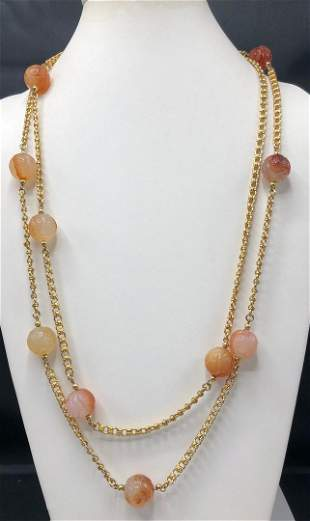 Authentic Kenneth Lane Carved Carnelian Bead Necklace