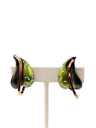 Authentic Renior Copper Leaf Earrings W/ Spotted Enamel