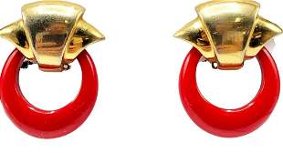 Authentic Givenchy Small Red Hoop Dangle Earrings